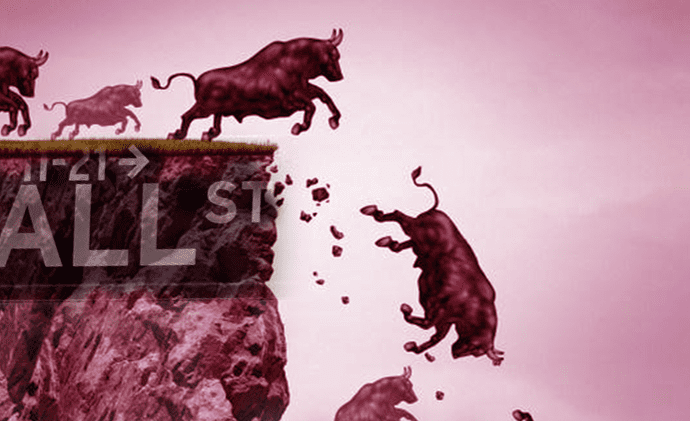 Bulls running off a cliff titled Wall Street